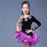 Strapped Purple Latin Dress Girls Sequined Ballroom Latin Dance Wear Kids Salsa Performance Stage wear dancing costumes clothing