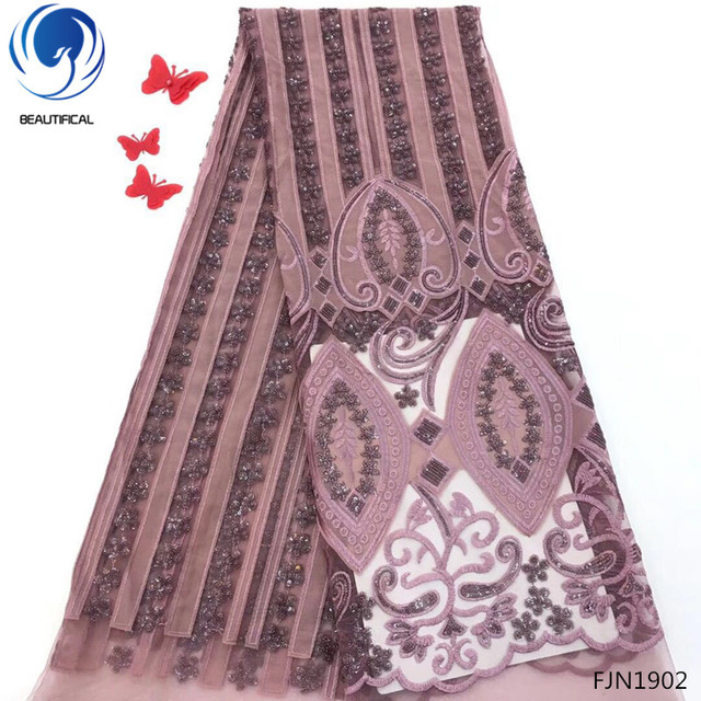 BEAUTIFICAL embroidered velvet laces african lace fabric 2018 high quality lace 5 yards nigerian lace fabrics for dress FJN19