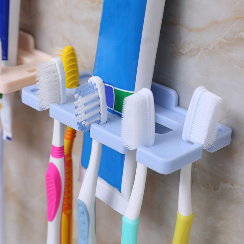 5 Holes Household Plastic <font><b>Toothbrush</b></font> <font><b>Rack</b></font> Perforated Water Free Bathroom Hygienic <font><b>Toothbrush</b></font> Holder Color Randomly image