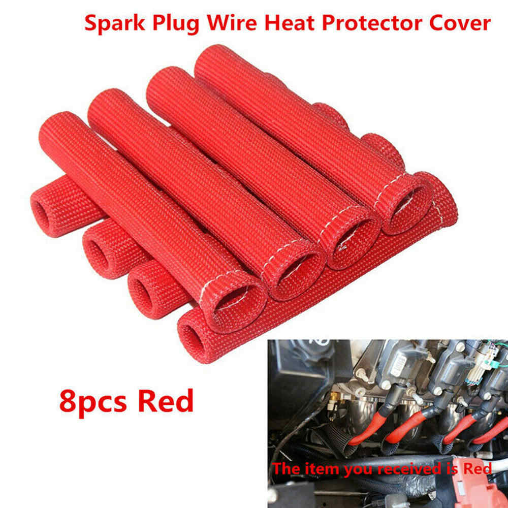 8pcs Black Red Blue 1200 Universal Spark Plug Wire Boots Heat Shield Protector Sleeve  For GM Chevy Ford