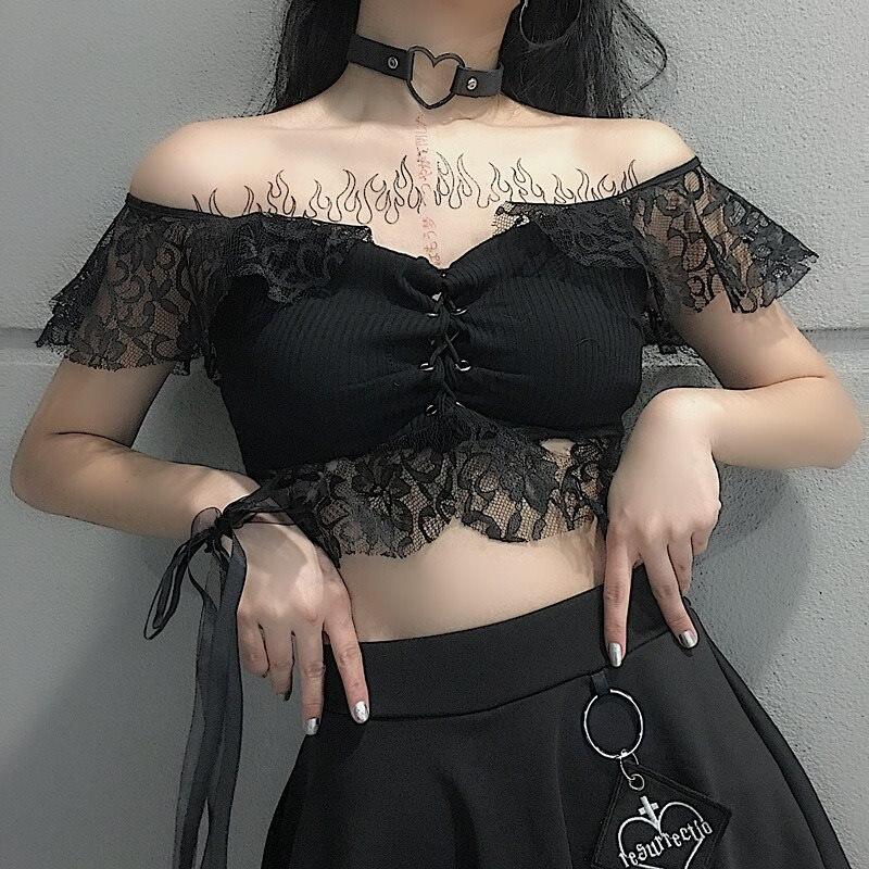 D'été Lacet Hauts Creux Japonais Noir Up Chemises Femmes Encolure Mince Dentelle T T Chic Mode Gothique Sexy Fille shirts De Cultures Style w0xx7IAWvq