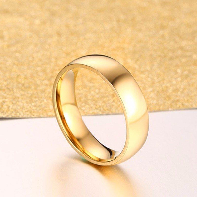 Vnox Classic Wedding Rings for Women Men 6mm Gold Tone Stainless Steel Couple Rings Simple Plain Bands Anniversary Gift 4