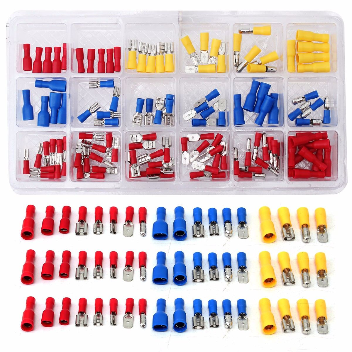 120Pcs Assorted Crimp Terminals Set Kits Electrical Insulated Cord Pin End 10-22AWG Wire Terminal Crimp Connector Spade Set Kit120Pcs Assorted Crimp Terminals Set Kits Electrical Insulated Cord Pin End 10-22AWG Wire Terminal Crimp Connector Spade Set Kit
