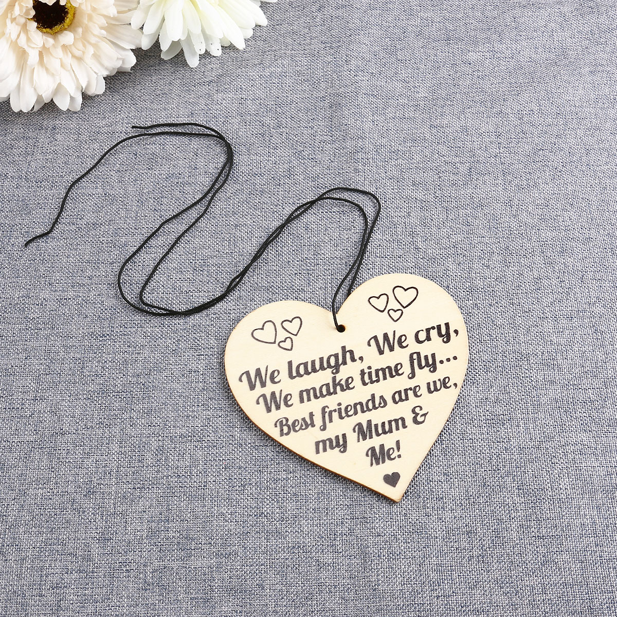 5pcs Heart Shape Wooden Piece Gift Tag Label w//String Decor for Mum/'s Gift