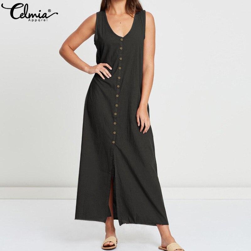 Celmia S-5XL Women Long Maxi Dress Sexy Sleeveless Buttons Casual Party Shirt Dress 2019 Summer Beach Split Loose Vestidos Femme