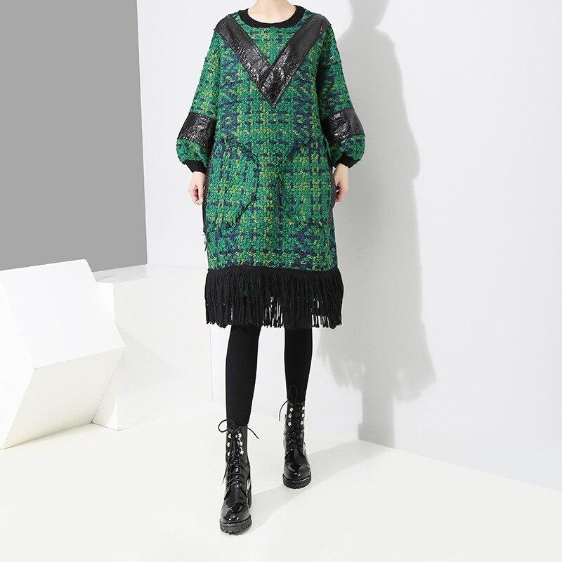 fdd3da5007ef Femmes Nouveau Manches Point Hiver Robe Vert Grande Rond Mode Automne  Glands Taille Plaid Ourlet De ...