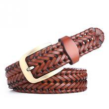Плетеный ремень модные роскошные мужские ремни Классический ручной работы прочный с пряжкой тканый кожаный ремень