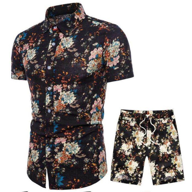 Image 2 - 19Men's belted shorts floral shirt set spring casual shirt belted shorts ensemble short sleeve floral shirt with shorts M  5XL-in Men's Sets from Men's Clothing