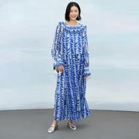Runway Designer 2019 Spring Summer Dress Women's Full Sleeve Blue And White Geometric Printed Chiffon Fashin Design Maxi Dress