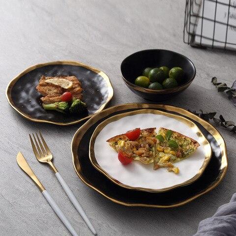 Prato de Jantar em Cerâmica Preto e Branco Inlay Ouro Lanche Pratos Luxo Ouro Bordas Placa Bandeja Conjunto Tablware Louça Prato da Cozinha