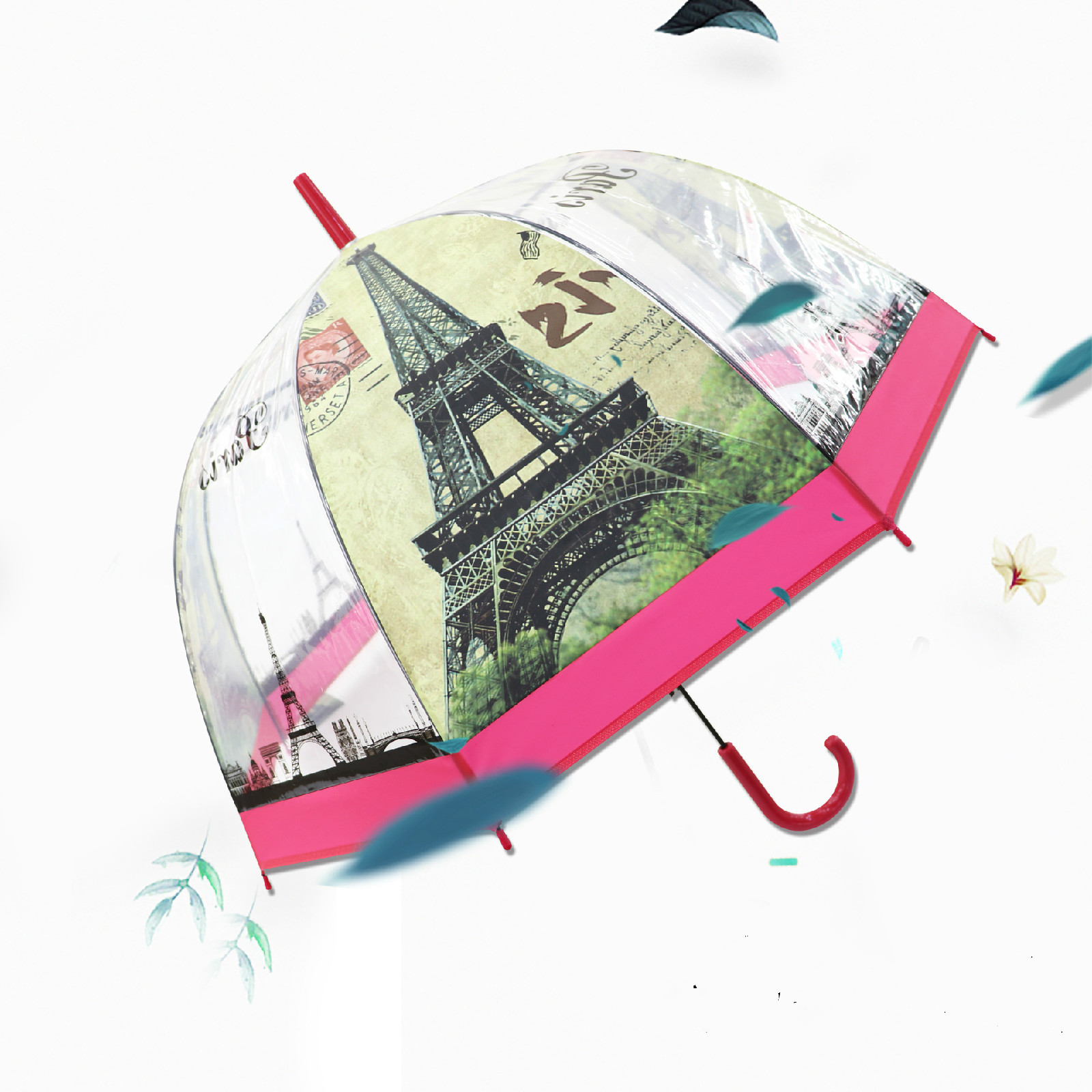British Wind Series Umbrella Eiffel Tower Transparent Thickened Apollo Bird Cage Straight Handle