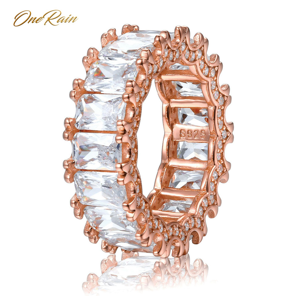 OneRain 100% 925 Sterling Silver 4 * 6 MM Water White Topaz Gemstone Wedding Engagement Cocktail Ring Jewelry Wholesale Sz 5-12