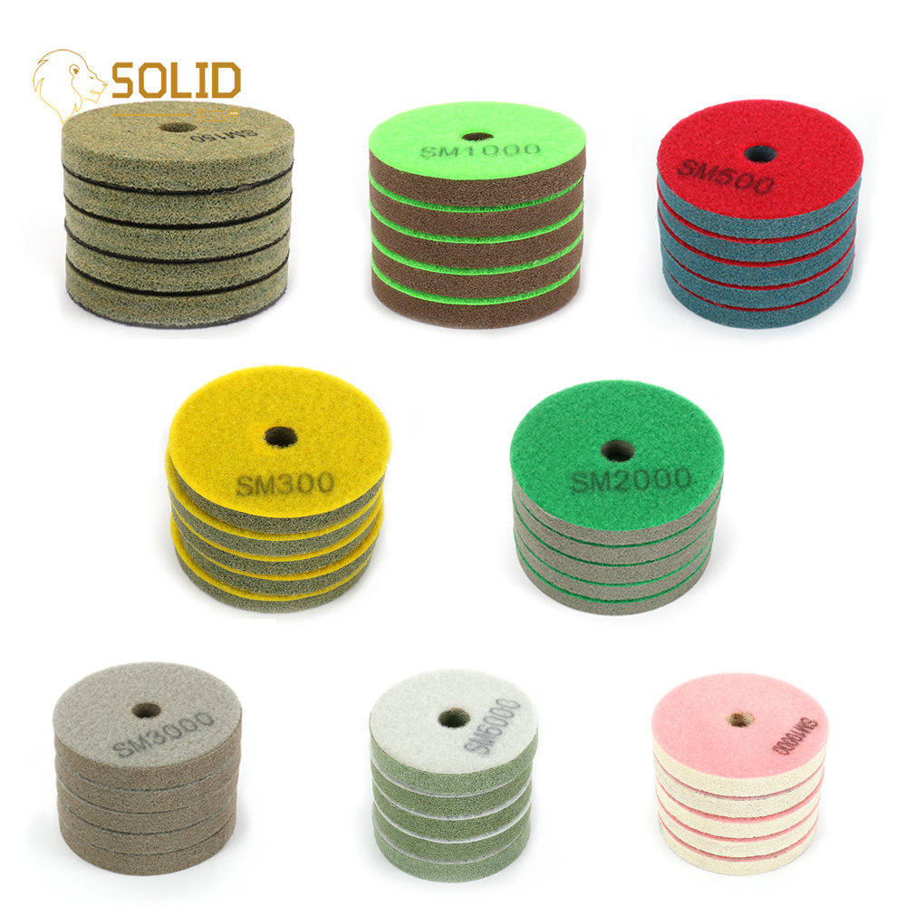 5Pcs Fiber Polishing Pad Sponge Angle  Self-adhesive Grinding Wheel 3 / 4inch Abrasive Tool For Granite Marble 150 - 10000 Grit