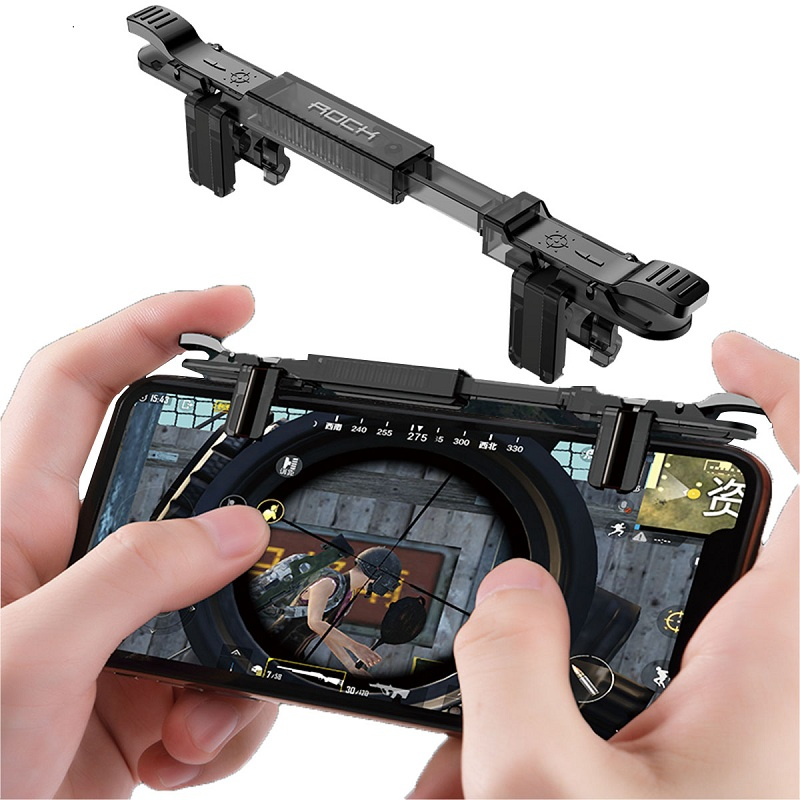 ROCK Phone Game Joystick for Pubg Mobile Four Finger Free Fire Aim Button Trigger Game Controller for pubg L1 R1 Shooter Game