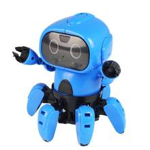 Intelligent Induction RC Robot DIY Assembled Electric Follow Robot with Gesture Sensor Obstacle Avoidance Kids Educational Toys(China)