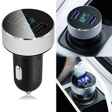 3.1A Dual USB Car Charger 2 Port LCD Display 12-24V Cigarette Socket Lighter Fast Car Charger Power Adapter(China)