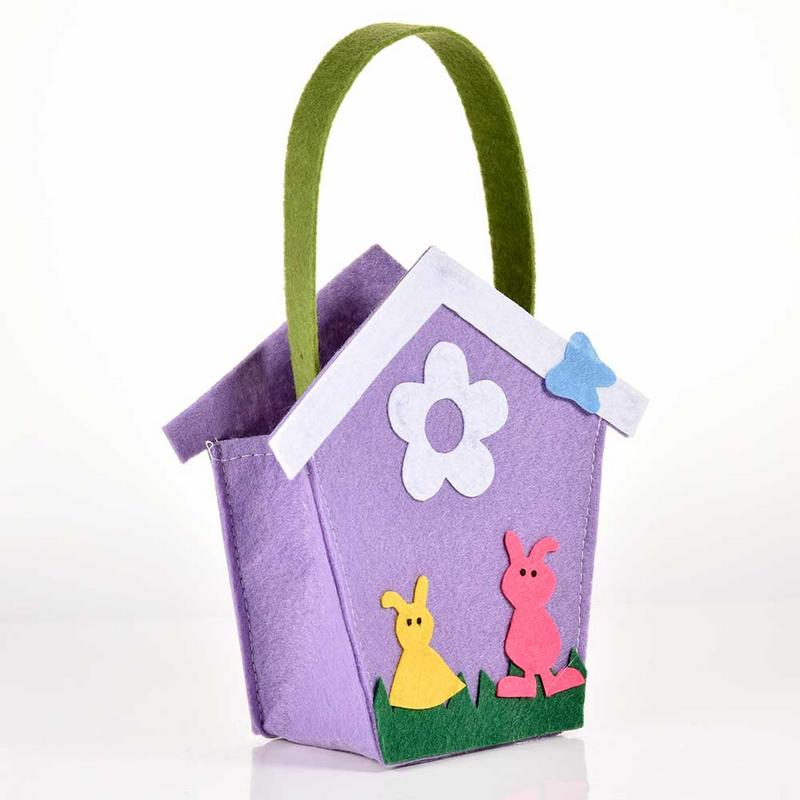 Easter Candy Bag Simple Purple House Shaped Storage Bag Arch