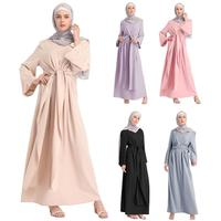 Fashion Muslim Abaya Full Dresses Hijab Kimono Long Robe Gowns Casual Loose Vestidos Middle East Ramadan Islamic Bandage Dress