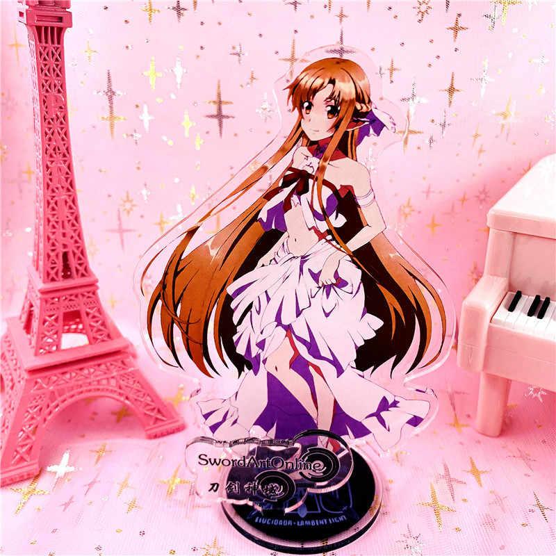 السيف الفن على الانترنت عمل أرقام الاكريليك لعب أنيمي SAO Kirito Asuna يوي نموذج مثير فتاة دمية 15 سنتيمتر ل هدية