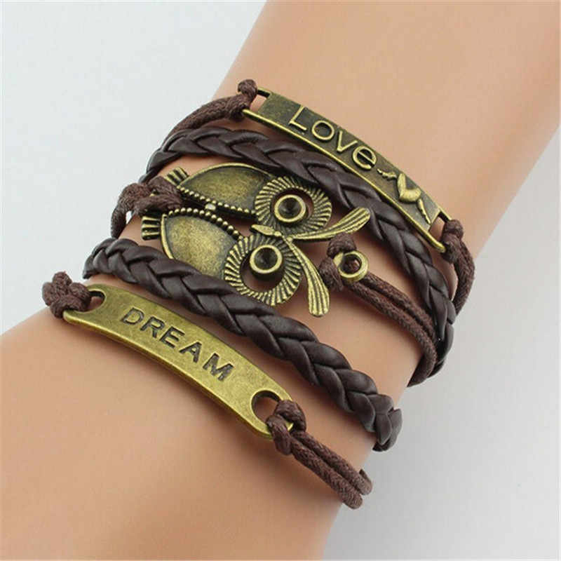 New Multilayer Braided Bracelet For Men Owl Bracelets And Bangle Women Accessories Famous Jewelry Women Bracelet Gifts For Men