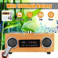 LEORY Retro Vintage Radio Super Bass FM Radio Bamboo Multimedia Speaker Classical Receiver USB With MP3 Player Remote Control