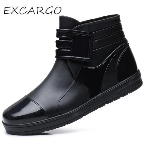 EXCARGO Men Ankle Boots Rainboots PVC Waterproof Shoes For Men 2019 Summer Fashion Hook Loop Male Rain Boots Rubber Shoes Pakistan