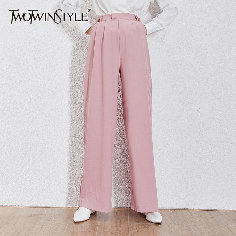 TWOTWINSTYLE Casual Solid Trousers For Women High Waist Ruched Big Size Maxi   Wide     Leg     Pants   Female Fashion 2019 Summer New