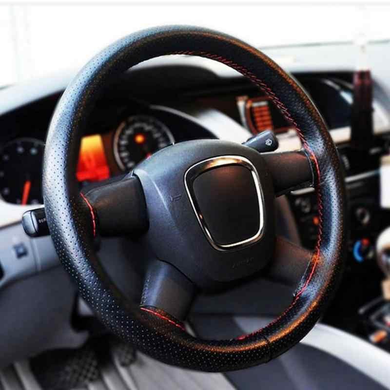 38 см DIY рулевое колесо Чехлы мягкая кожаная оплетка на руль автомобиля с иглой и