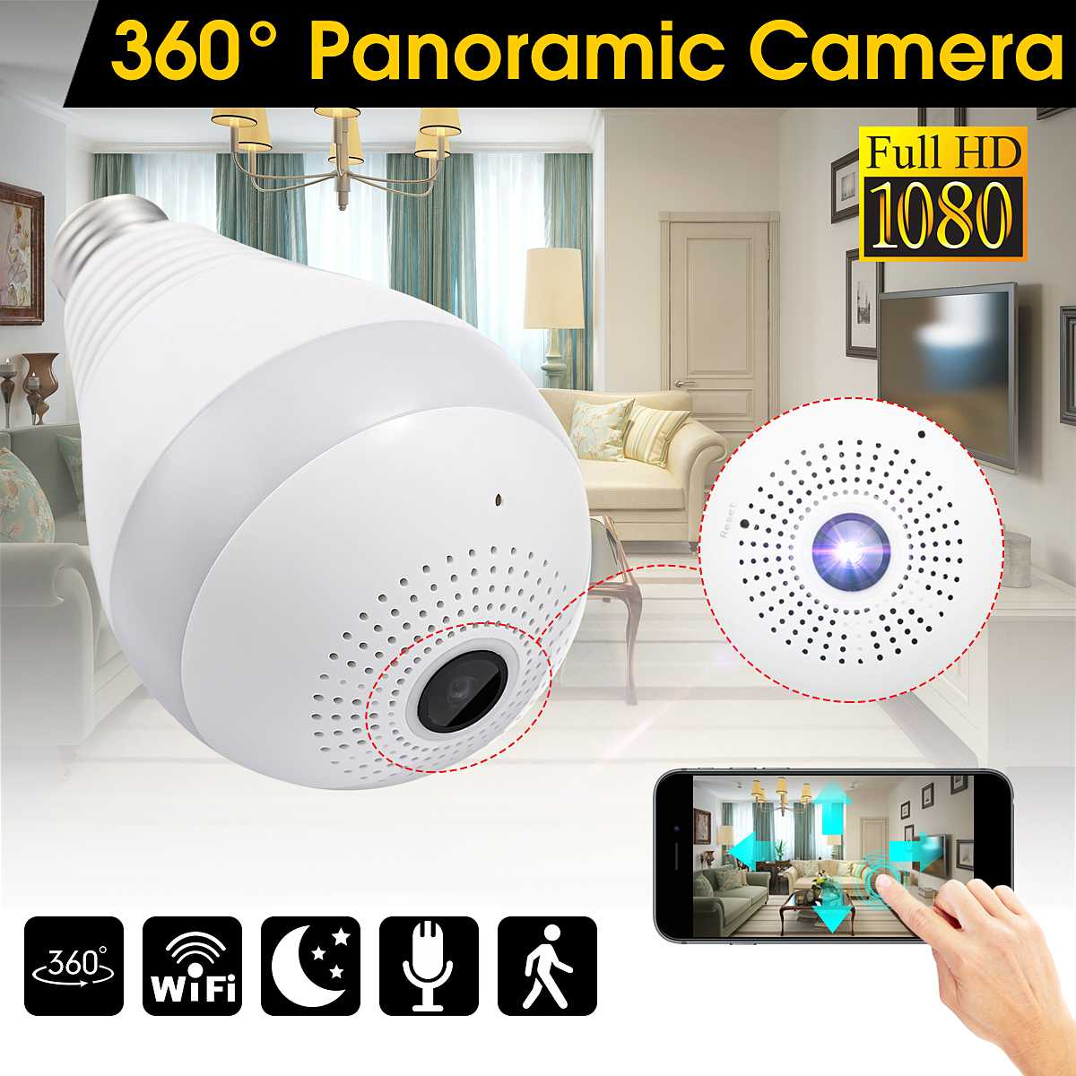 360 Degree Wireless IP Light Camera 1080P E27 Bulb Lamp Panoramic FishEye Smart Home Monitor Alarm CCTV WiFi Security Camera