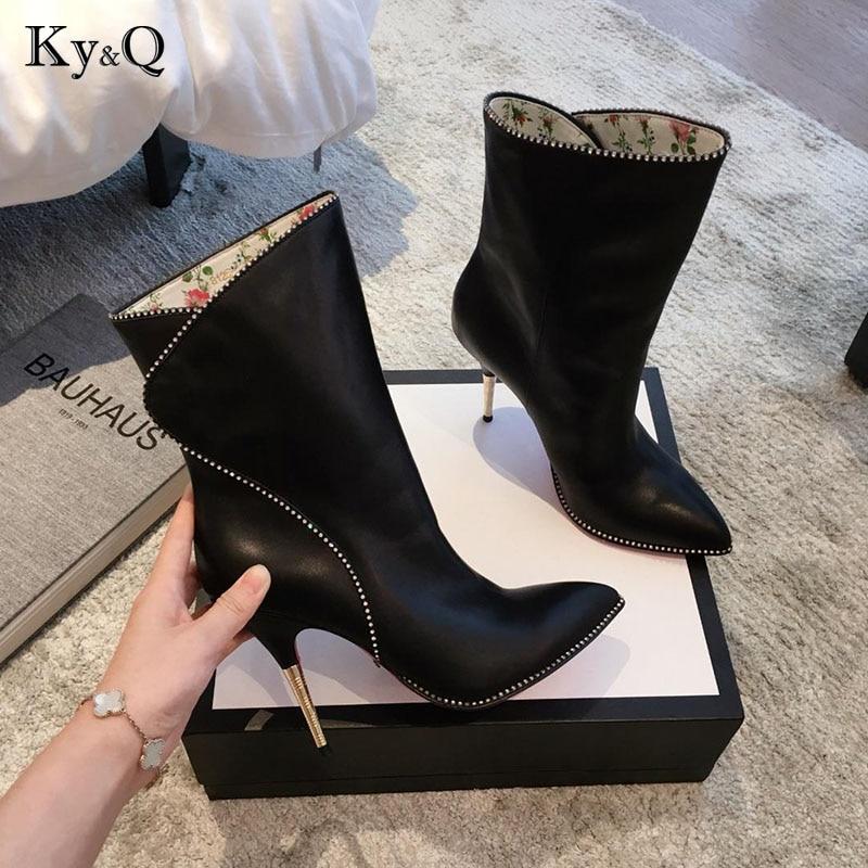 Feine white Stiefel Marke Aus Party Heel Leder Black Qualität Schuhe Spitz Neue Mode High Frauen Echtem FzwZz0qX