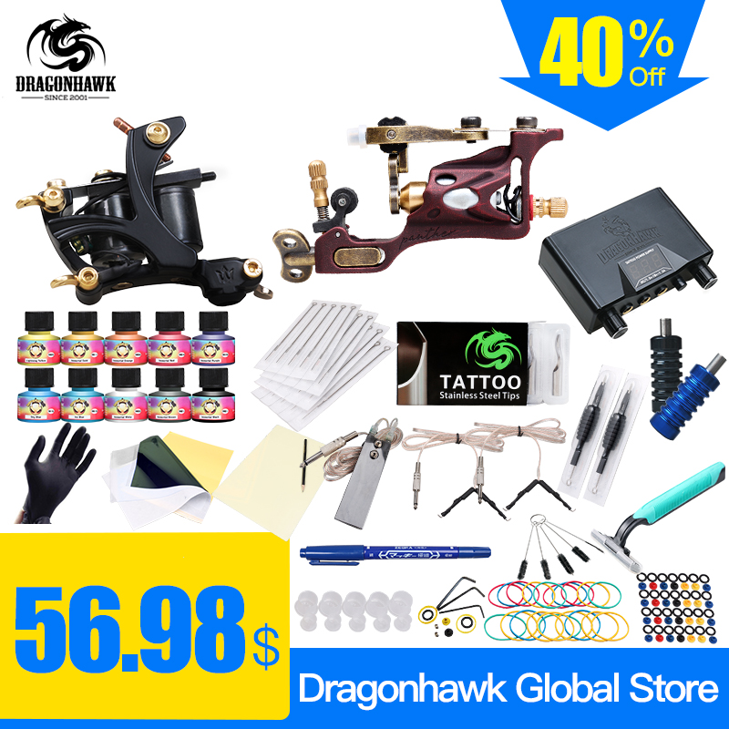 Top Free Кеме Complet Tattoo Kit Ротациялық Tattoo Machine Coils Machine Ыстық Sales Dragonhawk Power Supply 10 Colors USA Ink Set