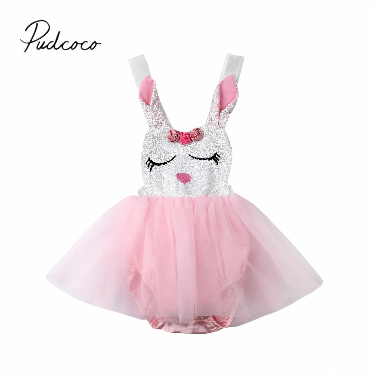 928174671 2019 nuevo bebé niñas Pascua mameluco vestido lentejuelas conejo estampado  encaje Patchwork sin mangas mono vestido
