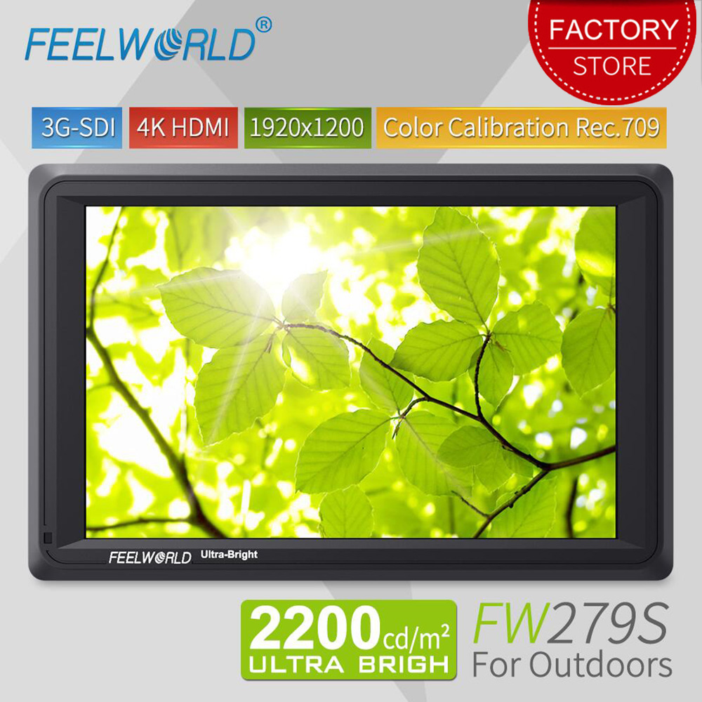 Feelworld FW279S 7 Inch 3G SDI 4K HDMI DSLR Camera Field Monitor Ultra Bright 2200nit Full HD 1920x1200 LCD IPS For Outdoors