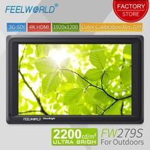 Feelworld 7 дюймов 3g SDI 4 к HDMI DSLR камера поле мониторы ультра яркий 2200cd/m2 Full HD 1920×1200 ЖК дисплей ips FW279S на открытом воздухе