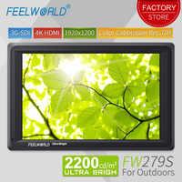 Feelworld FW279S 7 zoll 3G SDI 4 K HDMI DSLR Kamera Feld Monitor Ultra Helle 2200nit Volle HD 1920x1200 LCD IPS für Im Freien