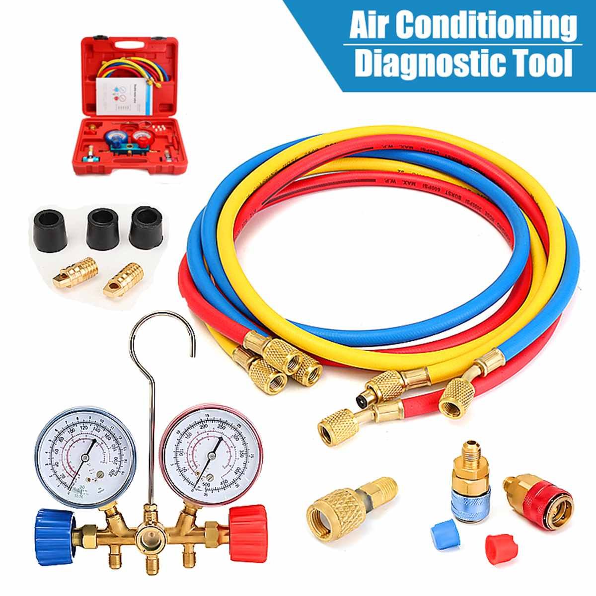 HVAC do carro A/C Kit De Refrigeração Manifold Calibre Definido para R22 R12 R134A Auto Refrigerante H/L Rápida acoplador Manifold Calibre Tool Set
