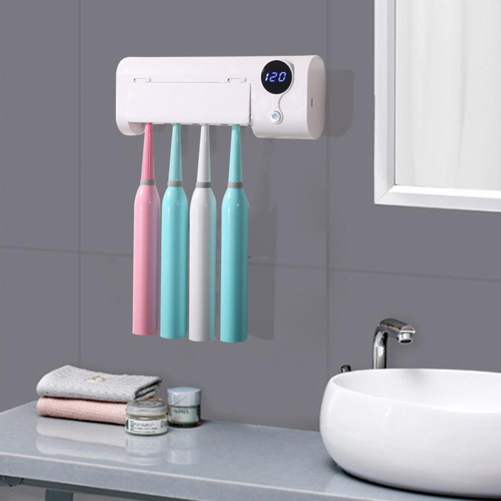 2019 New UV Light Toothbrush Toothpaste Dispenser Sterilizer Wall Mounted Holder Rack Bathroom Supply
