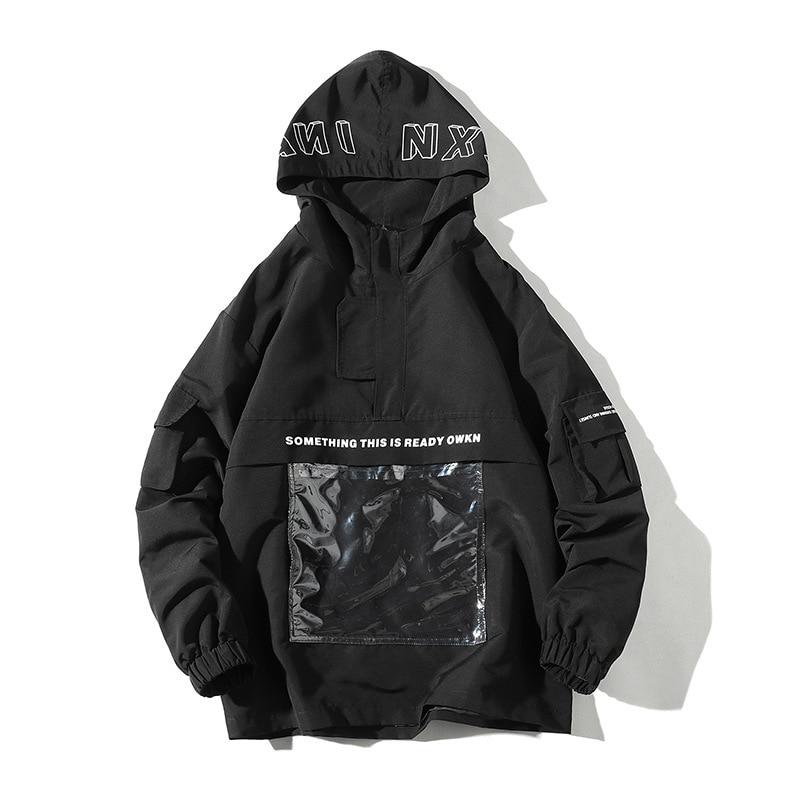 #2966 printemps 2019 avant Transparent poches veste unisexe noir/jaune/Beige/bleu Streetwear Hip Hop veste hommes lâche mode