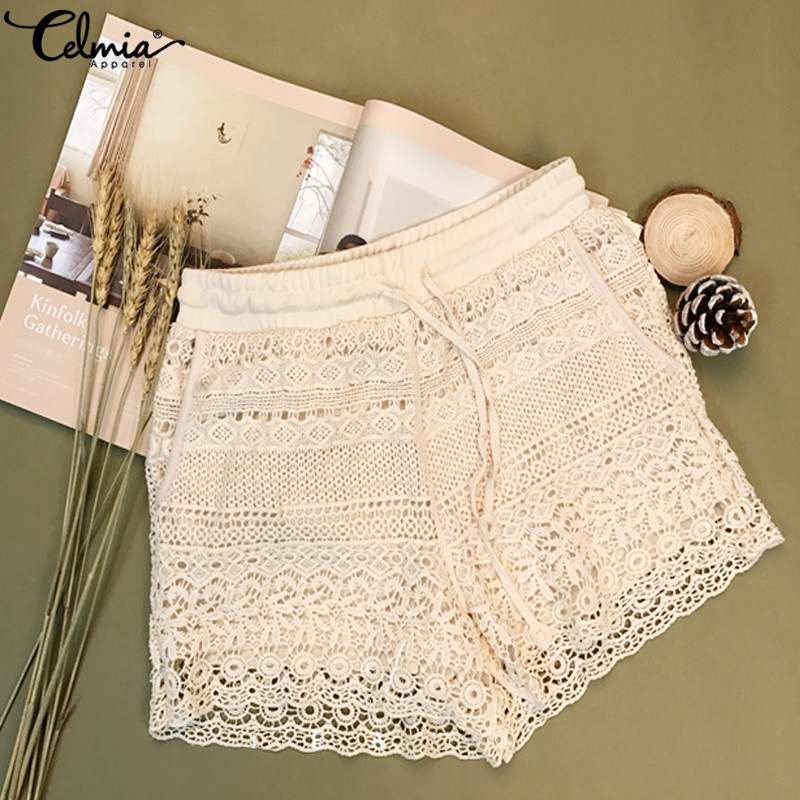 2019 Celmia Women White Lace Shorts Summer Beach Sexy Shorts Casual Drawstring High Waist Bottoms Patchwork Shorts Plus Size 7
