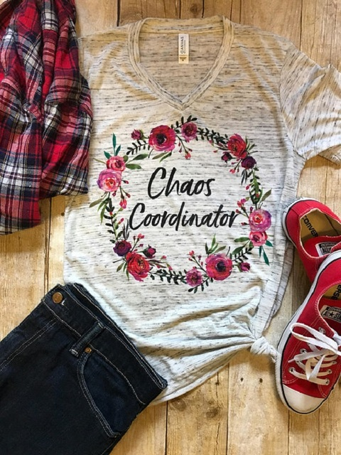Chaos Coordinator TShirt Mom Shirt Teacher Gift Birthday For Her T Mother Shirts Floral Tee