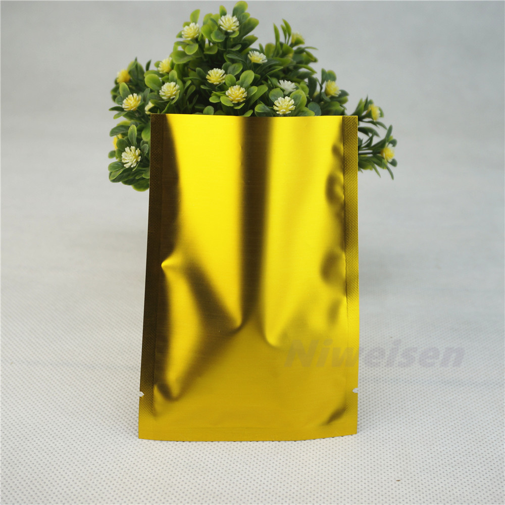 0060a2f2eb 9x13cm ping pocket 200pcs Golden Matte Aluminum Bags heat sealable ...