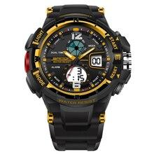 SANDA Fashion 30M Waterproof Outdoor Sport Watch Led Dual Display Luminous Quartz Wrist Gifts