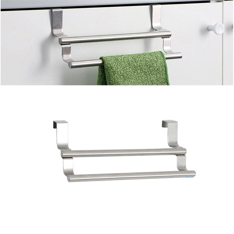 Us 8 95 45 Off 1pc Double Towel Bar Stainless Steel Over Cabinet The Door Hanger Rack For Kitchen Home Bathroom In Storage Holders