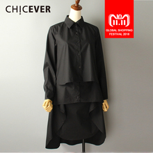 e9abce0354746 CHICEVER 2018 Spring Summer Women s Shirt Blouses Asymmetry Long Sleeve Black  Plus Size Women Shirts Clothes · 2 Colors Available