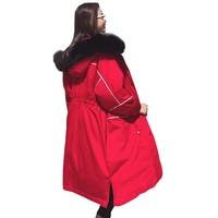 abrigos mujer invierno 2018 Long Down Jacket Fashion Loose Plu size Waist Red Winter Jacket Parka Women Padded Female overcoat