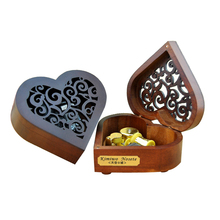 Elfen Lied Music Box ,Creative Hollow Cover 18-Note Gold Movement Wind-up Heart Wooden Musical with Gift Box,Play Lilium