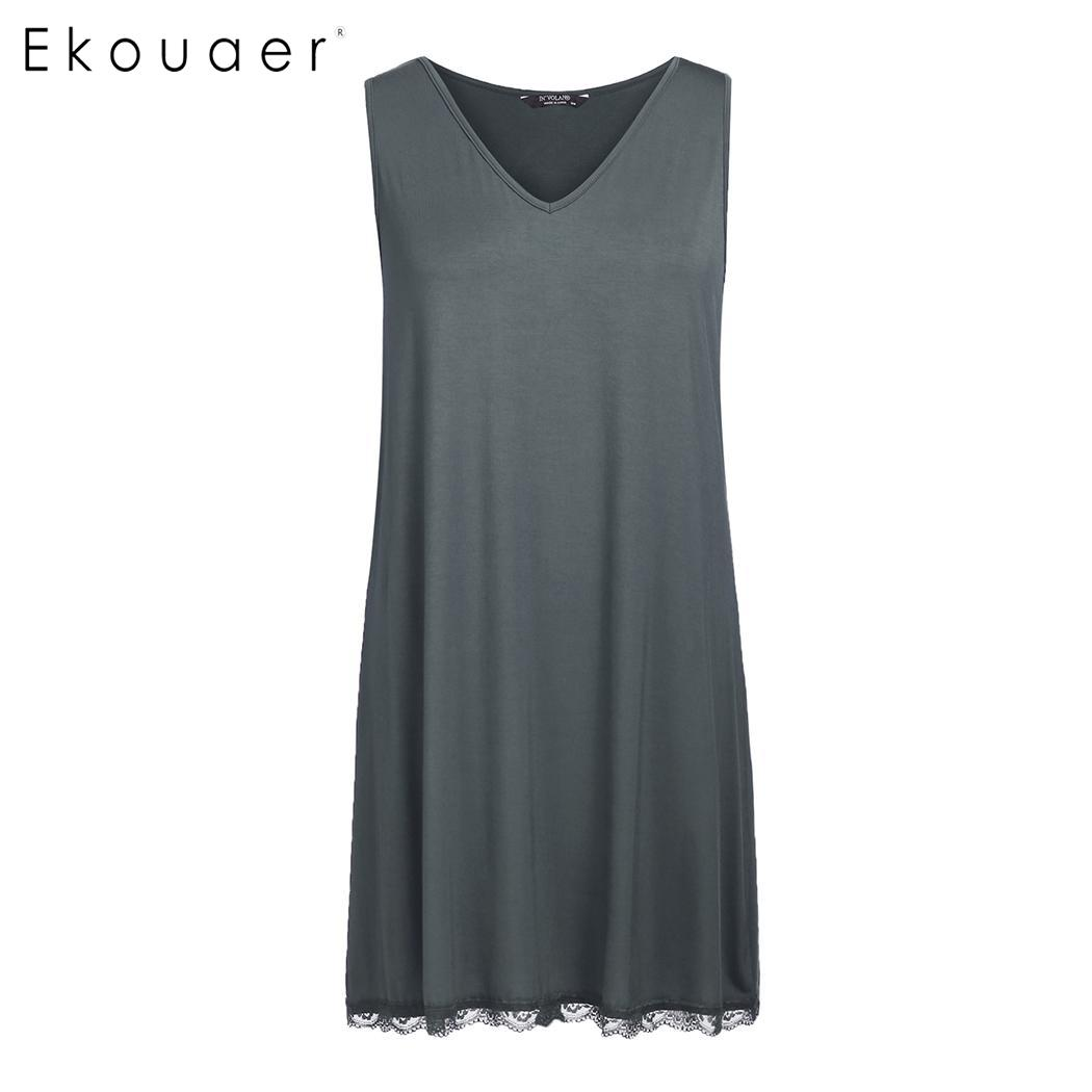 Ekouaer   Nightgown   Women Plus Size   Sleepshirts   Sleeveless Floral Lace Hem Nightwear Women V-Neck Sleepwear Summer Nightdress 5XL