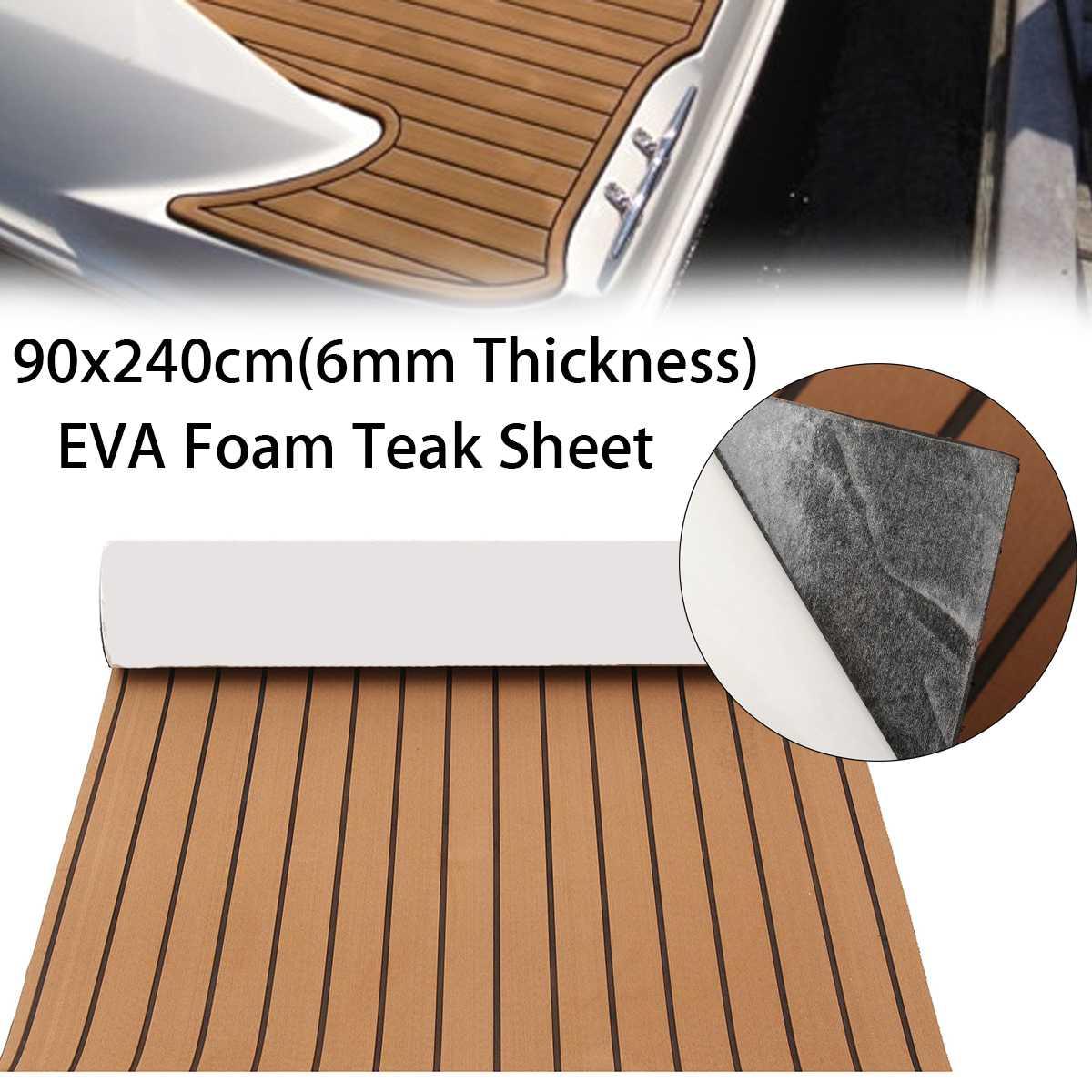 240x90cm EVA Foam Teak Sheet Boat RV Yacht Synthetic Teak Decking Marine Boat Flooring Yacht Teak Decking Sheet Carpet Floor Pad(China)