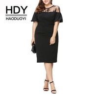 HDY HAODUOYI Women Plus Size Ruffles Shoulder Short Sleeve Party Sexy Lace Patchwork Office Lady Bodycon Midi Pencil Dress