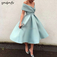 YNQNFS RE12 Robe De Soiree Courte Cocktail Vestido Curto Off Shoulder Ball Gown Tea Length Vintage Mother of the Bride Dresses